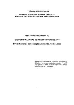 Encontro Nacional de Direitos Humanos 2005 – Relatório Preliminar