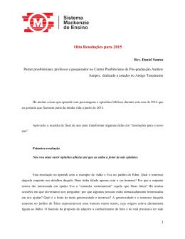 Oito resolucoes para 2015
