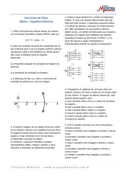 Exercícios de Física Óptica – Espelhos Esféricos
