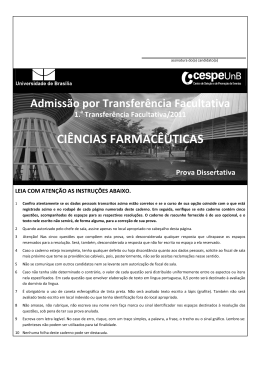 Prova dissertativa - Ciências Farmacêuticas