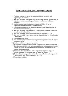 Normas para utilização dos alojamentos