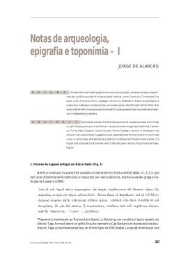Notas de arqueologia, epigrafia e toponímia – I