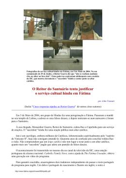 O Reitor do Santuário tenta justificar o serviço cultual hindu em Fátima