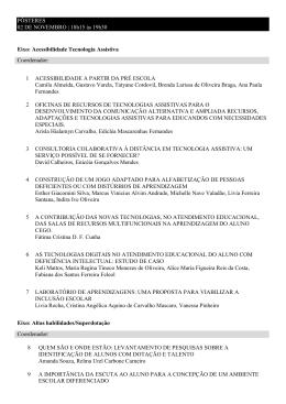 PÔSTERES 02 DE NOVEMBRO | 18h15 às 19h30 Eixo