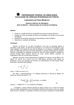 Serie de Balmer - Faculdade de Ciências Integradas do Pontal