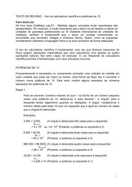Potências de 10 e uso da calculadora científica