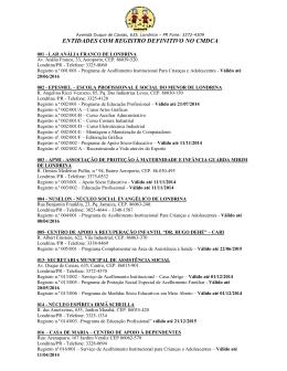 ENTIDADES COM REGISTRO DEFINITIVO NO CMDCA