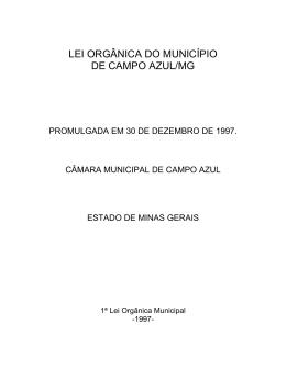 LEI ORGÂNICA DO MUNICÍPIO DE CAMPO AZUL/MG