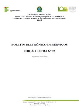 Edição Extra - Portarias nº 2 e 3/2014
