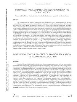 MOTIVAÇÃO PARA A PRÁTICA DA EDUCAÇÃO FÍSICA NO