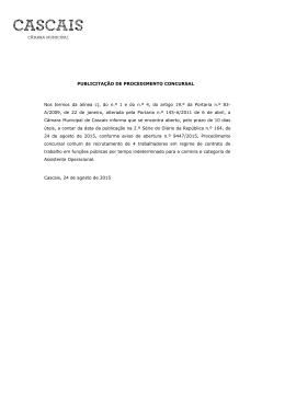 PUBLICITAÇÃO DE PROCEDIMENTO CONCURSAL Nos termos da