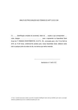 MINUTA DE PROCURAÇÃO NOS TERMOS DO ARTº 23