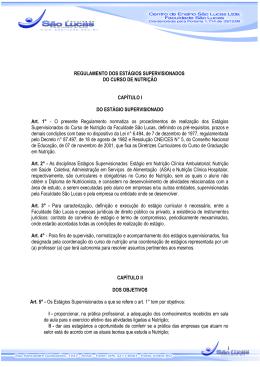 regulamento do estagio supervisionado do curso de nutrição