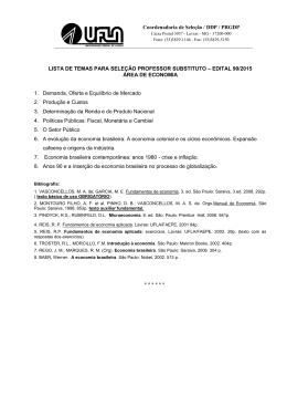 Coordenadoria de Seleção / DDP / PRGDP LISTA DE TEMAS