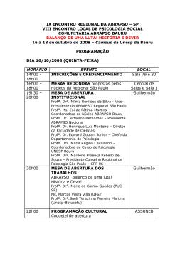 IX ENCONTRO REGIONAL DA ABRAPSO – SP VIII ENCONTRO