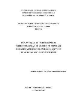 implantação de um programa de intercomparação de medidas de