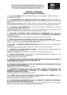 VII Seminário Estudantil de Pesquisa e Extensão I Seminário