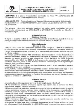 CONTRATO DE LICENÇA DE USO MANUTENÇÃO