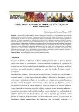 GESTÃO DA EDUCAÇÃO ESPECIAL DO PARANÁ