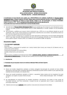 Edital de Pré-matrícula e entrega de documentos