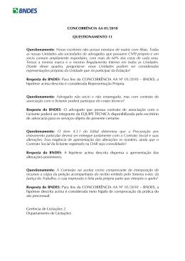 CONCORRÊNCIA AA 01/2010 QUESTIONAMENTO 11
