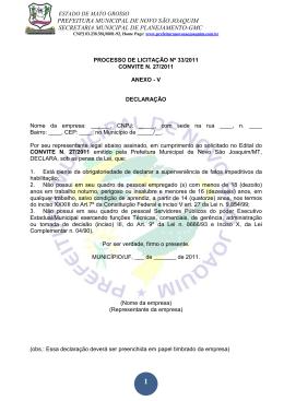 ANEXO V - DECLARAÇÃO - Novo São Joaquim-MT