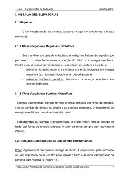 8. INSTALAÇÕES ELEVATÓRIAS 8.1 Máquinas É um transformador