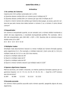 QUESTÕES NÍVEL 2 Aritmética 1 Os cartões de Catarina Catarina