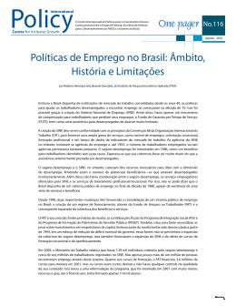 Políticas de Emprego no Brasil: Âmbito, História e Limitações