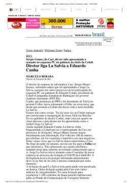 Diretor liga La Salvia a Eduardo Cunha