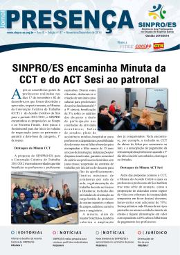 SINPRO/ES encaminha Minuta da CCT e do ACT Sesi ao patronal