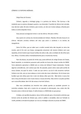 CÉRBERO E O PORTEIRO ANÔNIMO Sérgio Roxo da Fonseca