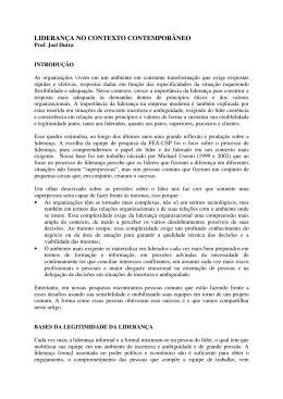 LIDERANÇA NO CONTEXTO CONTEMPORÂNEO