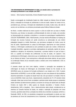 """""""OS ESTUDANTES DE ENFERMAGEM E O SUS: um estudo sobre"""