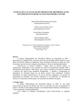 evolução e avaliação do projeto de reformulação das