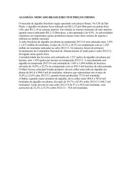 ALGODÃO: MERCADO BRASILEIRO TEM PREÇOS