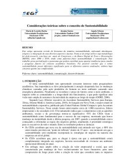 Considerações teóricas sobre o conceito de Sustentabilidade