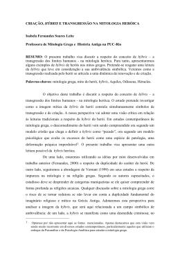 CRIAÇÃO, HÝBRIS E TRANSGRESSÃO NA MITOLOGIA HERÓICA