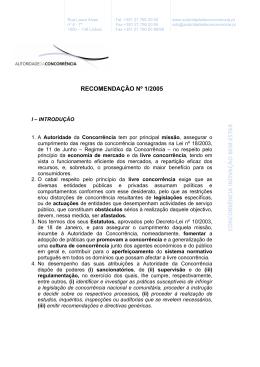 RECOMENDAÇÃO Nº 1/2005 - Autoridade da Concorrência