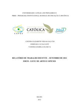 Relatório PIBID – Setembro 2012