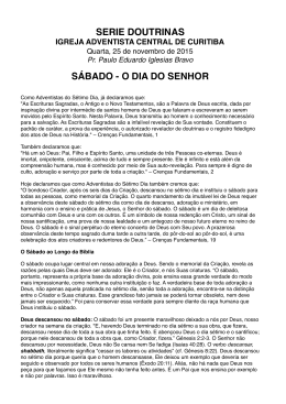 Tema 3 - Sábado - Igreja Adventista do Sétimo Dia Central de Curitiba