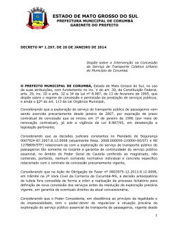 DECRETO Nº 1.297, DE 20 DE JANEIRO DE 2014
