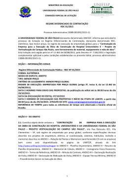 REGIME DIFERENCIADO DE CONTRATAÇÃO RDC 01/2015