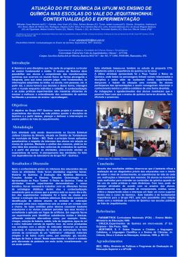 atuação do pet química da ufvjm no ensino de química nas escolas