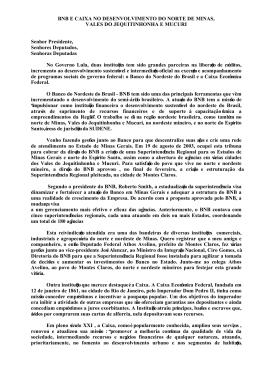 BNB E CAIXA NO DESENVOLVIMENTO DO NORTE DE MINAS