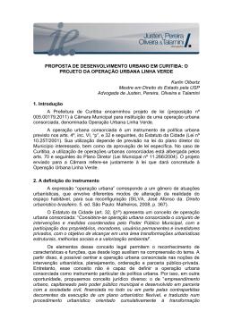 O PROJETO DA OPERAÇÃO URBANA LINHA VERDE Karlin