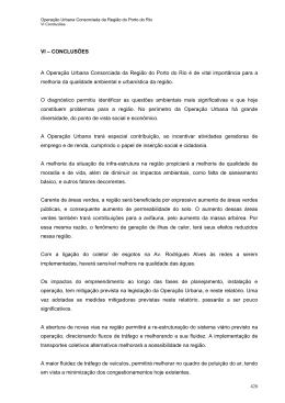 VI – CONCLUSÕES A Operação Urbana Consorciada da Região do
