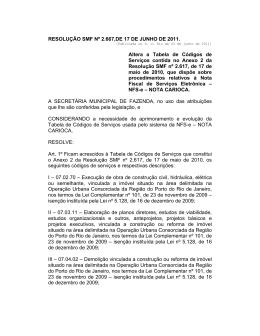 Resolução SMF Nº 2.667 17/06/2011 Altera a Tabela