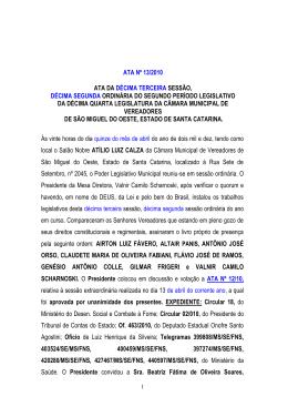Sessao ordinária às 20h00 - Câmara de Vereadores de São Miguel