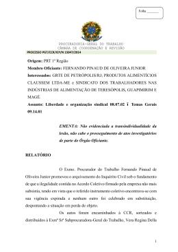 Processo PGT/CCR/nº 15047/2014